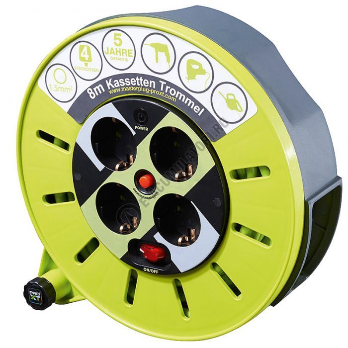 Prelungitor cu caseta tambur ProXT cablu 3x1.5 si siguranta, 8m cod 51266-big