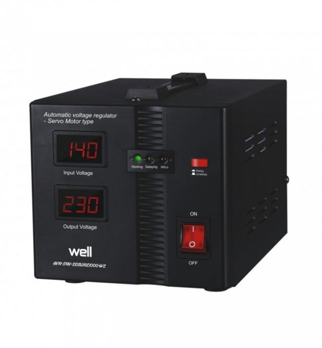Stabilizator automat de tensiune cu servomotor AVR-SRV-SECURE1000-WL 1000VA/600W Well-big