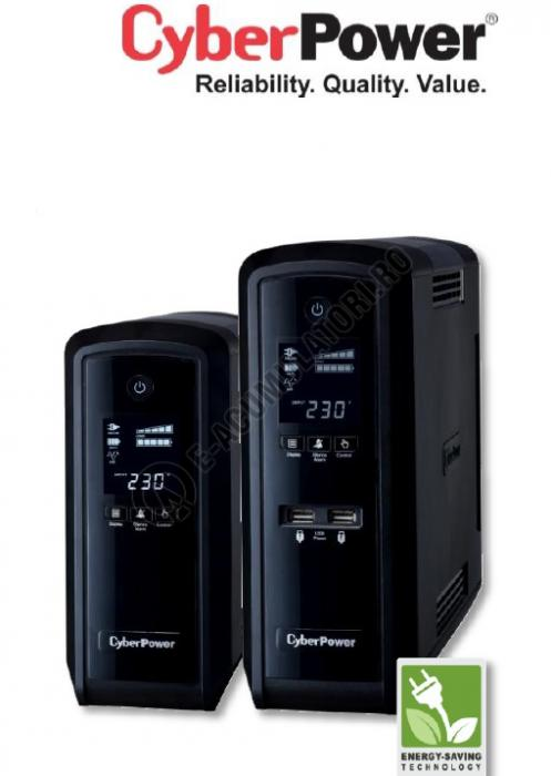 UPS Cyber Power CP900EPFCLCD Line-Interactive 900VA 540W AVR, LCD Display, 6 Schuko outlets, USB & Serial port-big