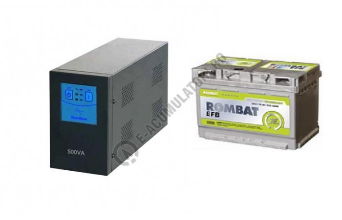 UPS pentru centrala Power Sistem Sinus TG500 300W cu acumulator Rombat EFB 60Ah-big
