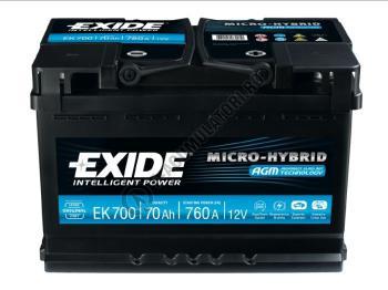 Acumulator Auto Exide AGM 70 Ah cod EK700 START-STOP PLUS2