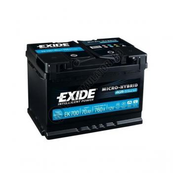 Acumulator Auto Exide AGM 70 Ah cod EK700 START-STOP PLUS3