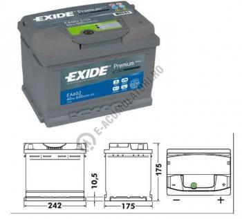 Acumulator Auto Exide Premium 61 Ah cod EA6121