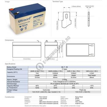 Acumulator VRLA Ultracell 12V, 7Ah UL7-12Vds2