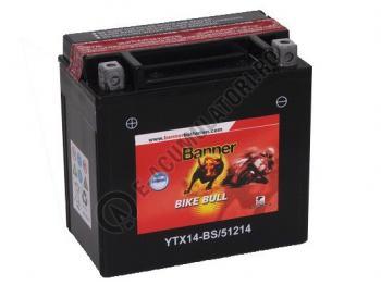 Baterie MOTO BANNER BIKE BULL AGM borne inverse 12V 12 Ah YTX14-BS cod 512 141