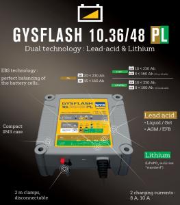 Incarcator redresor universal Plumb Litiu LIFEPO4 GYS cu protectie IP43 - 0270601