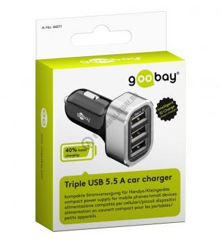 Incarcator auto Goobay Triple USB 5.5 A cod 442112