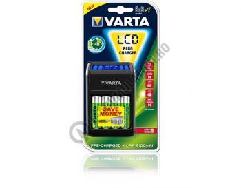 Incarcator VARTA LCD pentru AA, AAA si 9V cu 4 acumulatori Varta AA 2100mah inclusi  576770