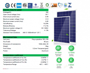 Panou fotovoltaic, 1640 x 992 x 35 mm, Kingdom Solar, policristalin 280w/60 celule2