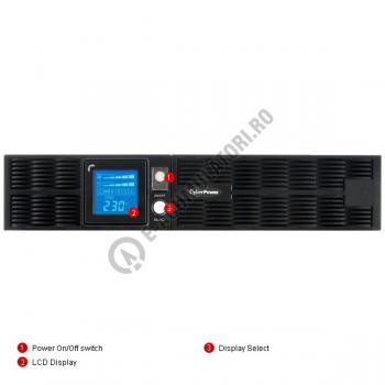 UPS Rackabil Cyber Power PR2200ELCDRT2U Line-Interactive 2200VA 1600W AVR, LCD Display, 8 IEC OUTLETS, USB & Serial port3