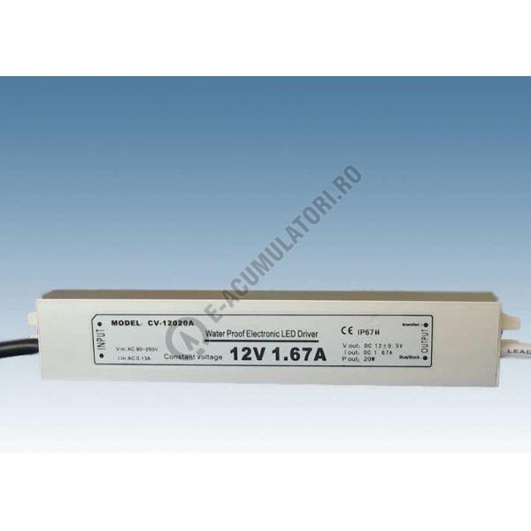 Sursa de alimentare pentru LED-uri de tensiune continua 20W; IP67; 12V  ; cod ZLV-20-12-big