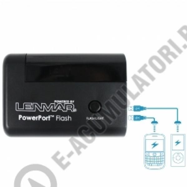 Lenmar PowerPort Flash - Baterie portabila cu 2 porturi USB si incarcator cu lanterna, model PPUALF1-big