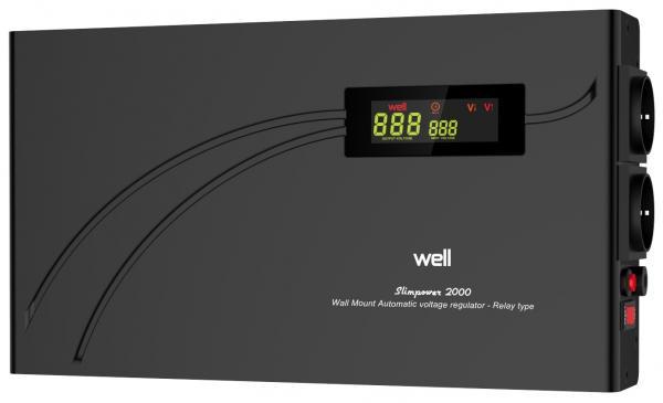Stabilizator automat de tensiune cu releu Well 2000VA/1200W AVR-REL-SLIMPOWER2000-WL-big