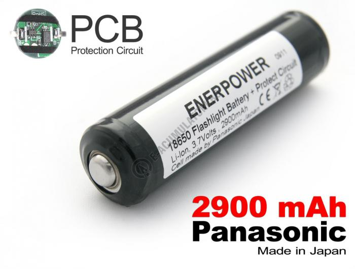 Acumulator 18650 Li-Ion 2900 mAh Panasonic cu protectie PCB 2,5 A-big