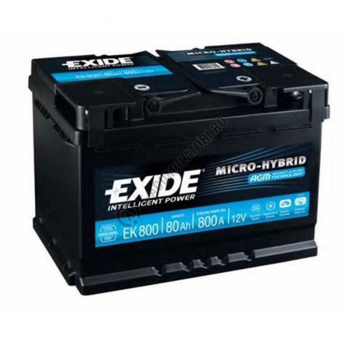 Acumulator Auto Exide AGM 80 Ah cod EK800 START-STOP PLUS-big