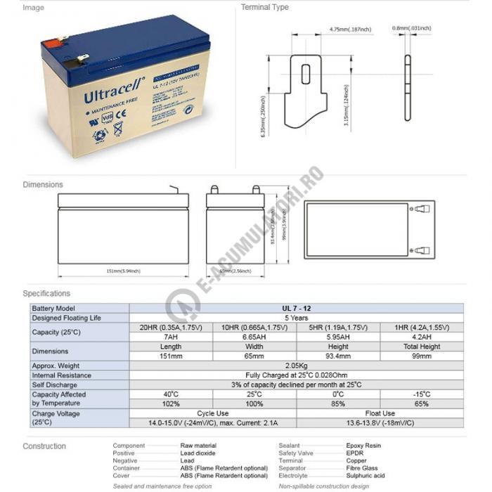 Acumulator VRLA Ultracell 12V, 7Ah UL7-12Vds-big