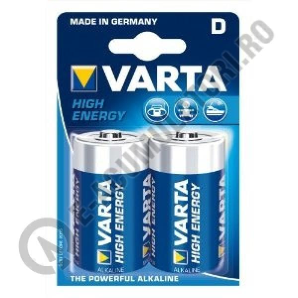 Baterii alcaline Varta High Energy D, R20, blister de 2 buc-big