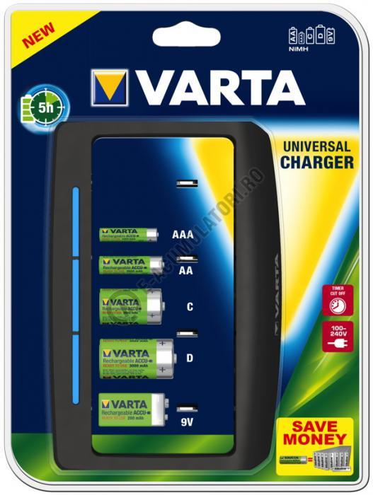 Incarcator universal Varta AAA, AA, C, D, 9V cod 57648-big