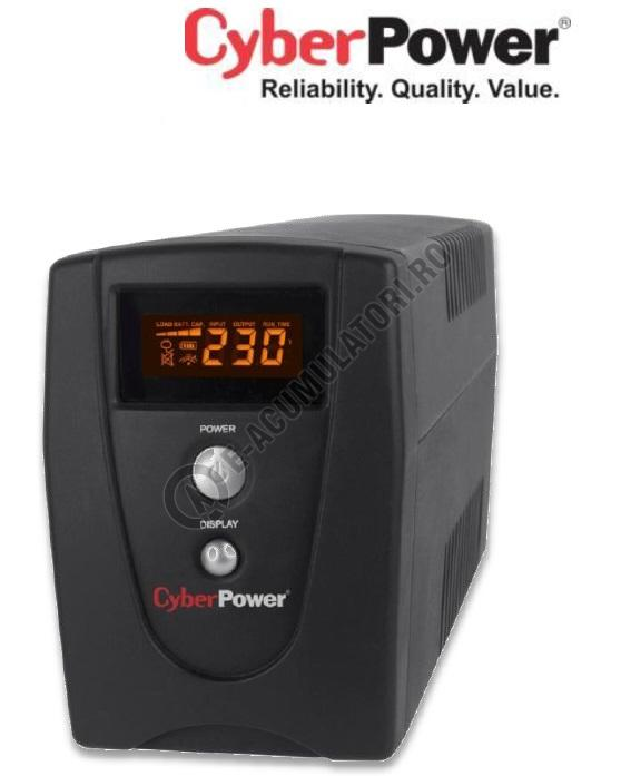 UPS Cyber Power VALUE1000ELCD 1000VA 550W AVR, LCD Display, 2 x Schuko outputs, USB & Serial port-big