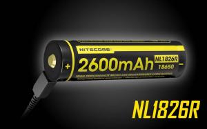 Acumulator Reincarcabil Micro USB 18650 Li-Ion 2600 mah Nitecore NL1826R1