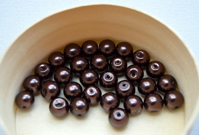 Perle 8 mm (30 buc/set) maro inchis