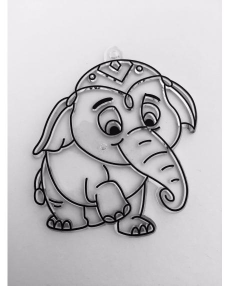 Sablon plastic de colorat, elefant
