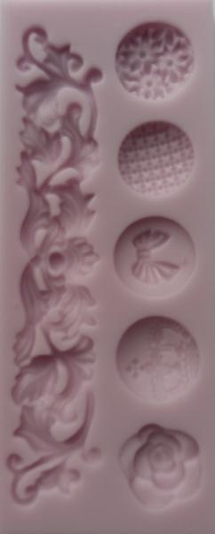 Mulaj din silicon, 5 cabochoane si bordura