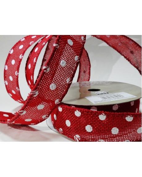 Panglica sac rosu cu buline albe