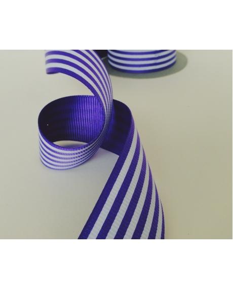 Panglica decor cu dungi violet-albe
