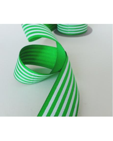 Panglica decor cu dungi verzi-albe