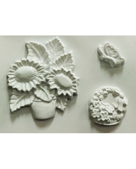 Matrita pentru turnat ipsos - Flori si fluturi