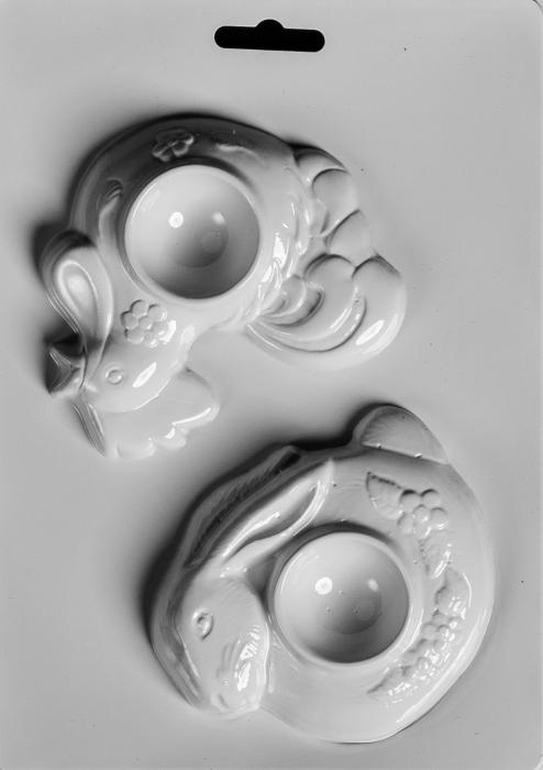 Matrita pentru turnat ipsos - Suport oua - Gaina si iepure