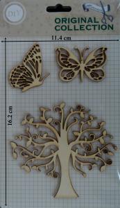 Decoratiune din lemn - copac si fluturi