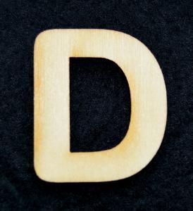 "Litera din lemn ""D"" - 3.2 x 2.7 x 0.2 cm"