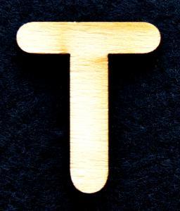"""Litera din lemn """"T"""" - 3.2 x 2.7 x 0.2 cm"""