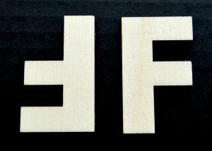 """Litera din lemn """"F"""" - 4.5 x 2.7 x 0.4 cm"""