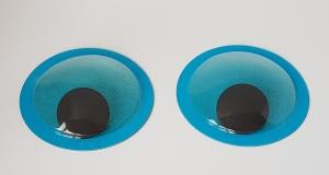 Ochi mobili - albastri glitter 10 cm