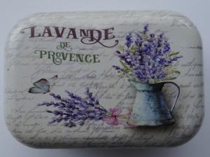 Cutie decorativa din metal, buchet de lavanda