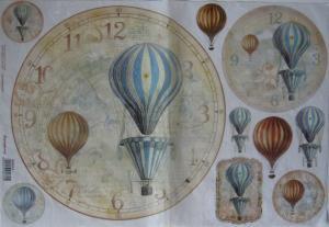 Hartie de orez 33x48 cm - Ceas cu baloane