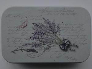 cutie decorativa din metal lavanda