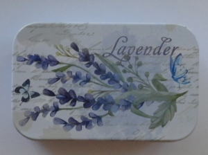Cutie decorativa din metal, tinichea, lavender