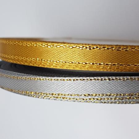 Panglica satinata cu fir auriu