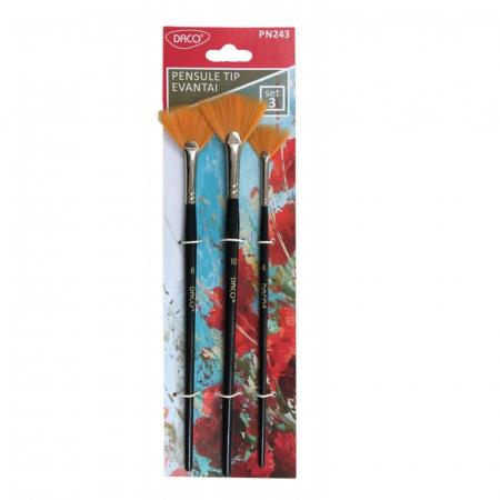 Set 3 pensule din par sintetic cu varf tip evantai