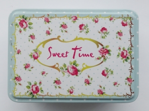 Cutiuta decorativa din metal, Sweet Time - albastru