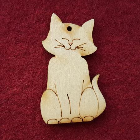 Decoratiune din lemn in forma de pisica