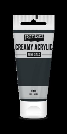 Vopsea acrilica cremoasa, semi-lucioasa, neagra, 60 ml