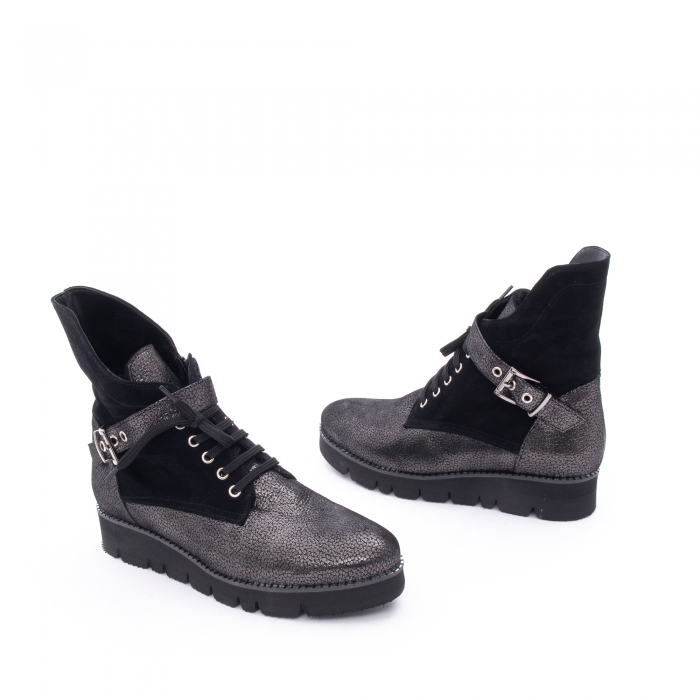 Ghete dama casual cu talpa groasa Nike Invest G1159, negru-argintiu 1