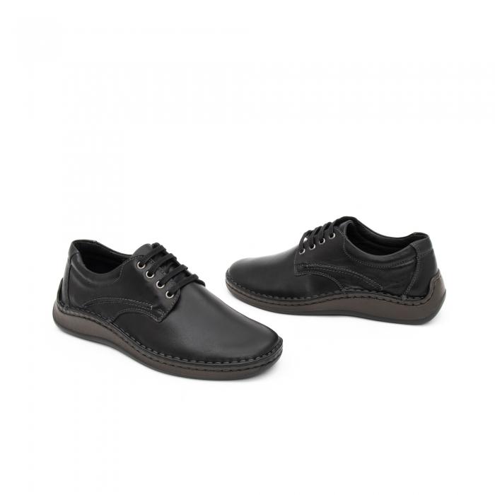 Pantofi barbati casual piele naturala, Leofex 918, negru 1