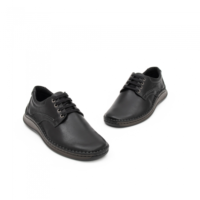 Pantofi barbati casual piele naturala, Leofex 918, negru 2