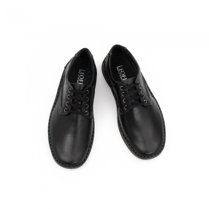 Pantofi barbati casual piele naturala, Leofex 918, negru 4
